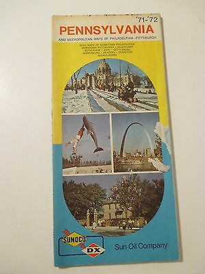Vintage 1971-1972 SUNOCO PENNSYLVANIA Gas Service Station Road Map