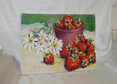 Strawberries Daisies Bowl Still Life Original ART OIL Painting 9 x 12 Signed