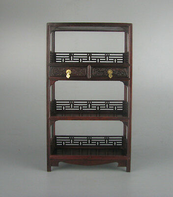 red hard wood rosewood carved China Miniature flower bookshelf stand display