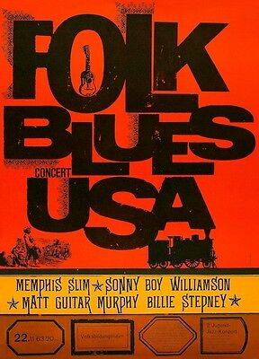 Folk Blues USA POSTER 1963 Concert Rare Memphis Slim