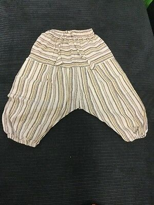 New Cream Cotton Kids Hippie Aladdin Pants 1-2 years