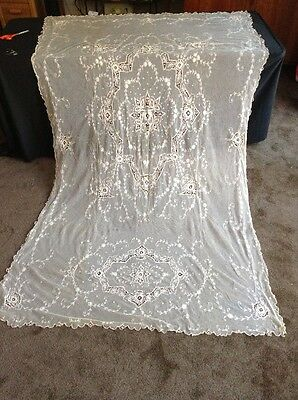 Antique Net Lace Bed Cover 96 by 60
