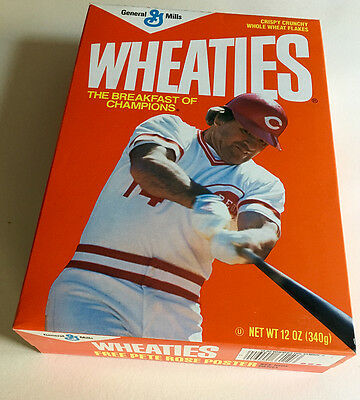 Wheaties Pete Rose Cereal Unopened Box 1986 Cereal Inside. Mint.