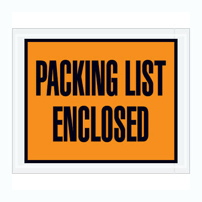 """1000 Packing List Enclosed Envelopes 5.5""""x10"""" FULL FACE Pouch"""