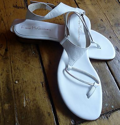 Fiona McGuinness Sandals White Leather Size 39