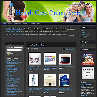 Health Care Store Affiliate Business Website For Sale, Free .Com Domain Name!
