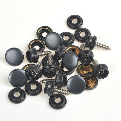 Pack 10 Sets Black Press Studs Snap Fasteners WOOD TO FABRIC w/Screws