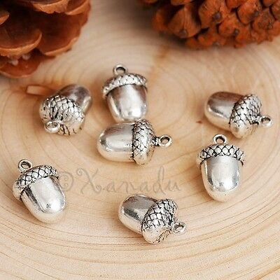 Acorn Charm 22mm Antiqued Silver Plated Autumn Pendants C1984-5 10 or 20PCs
