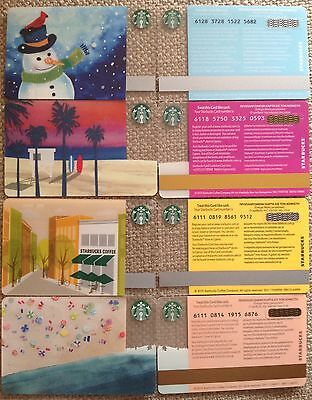 Cyprus Starbucks Set Of 4 Cards Christmas-Summer Sunset-Beach-City Store *mint*