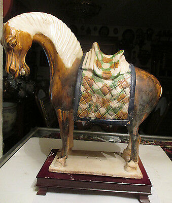 ANTIQUE Chinese Tang Dynasty style /CLAY tri color Horse statue with stand