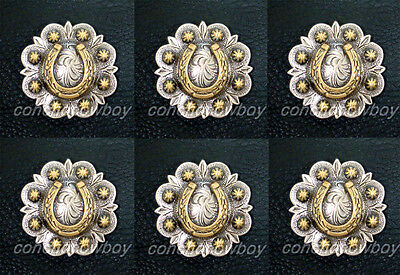 "Set of 6 Western Saddle ANTIQUE GOLD HORSE SHOE BERRY CONCHOS 1-1/4"" screw back"