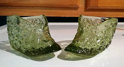 Fenton Colonial Green Glass Baby Booties - Set of 2