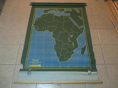 VINTAGE Africa Chalk Chalkboard Pull Down Classroom Wall Map