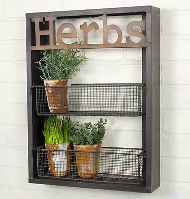 Herbs Vintage Industrial Style Wall Shelf Home Decor