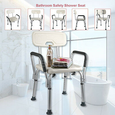 Aluminum 4 in 1 Adjustable Bathroom Bath Aid Shower Handle Seat with Back Arms