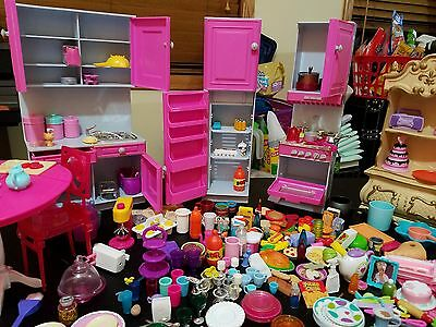 Barbie Doll Kitchen Refrigerator Cupboard Stove/Oven Cabinet Lots Accessories