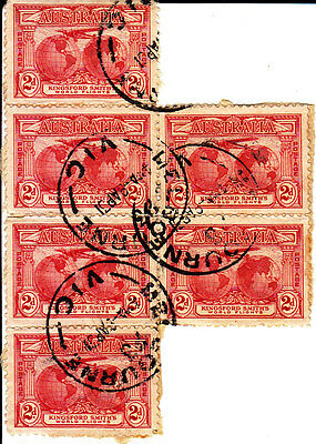 AUSTRALIA 6  X 2d KINGSFORD SMITH USED STAMPS