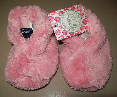 Gorgeous Baby Girl NWT Small 'Pumpkin Patch' Plush Furry Booties - Carnation