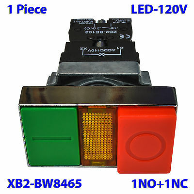 (1 PC) XB2-BW8465 Double Push Button Switch Start Stop Momentary with LED 120V