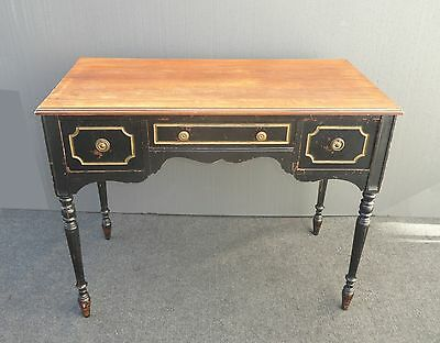 Vintage French Provincial Black Rustic Writing DESK Plank Wood Style Table Top