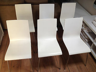 6 x DINING CHAIRS - WHITE WITH CHROME LEGS