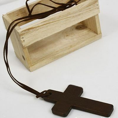 Christian Gift Religious Ancient Brown Leather Cross Jewelry Necklace Pendant