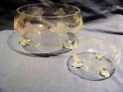Bohemia  Crystal Fruit Salad Bowl Etched Grape Vine Pattern & 7  Compotes