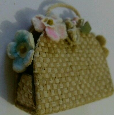 Htf Vintage Barbie Doll Accessories Pak Straw Tote Bag With Flowers #923 1961-62