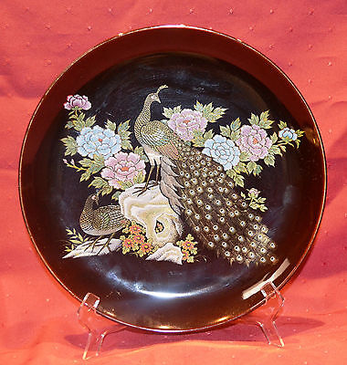 Large Japanese Kutani Style Plate Gilded Peacocks, Excellent Condition