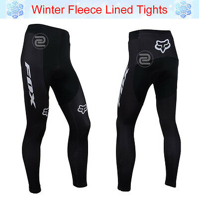 Men Team Bicycle Cycling Tights Pants Thermal Fleece Lined Inner Padded Trousers