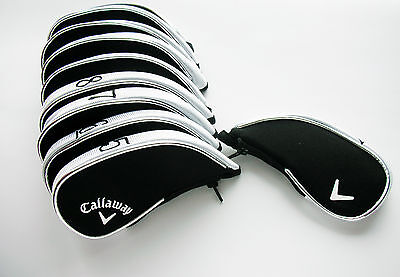 10 x CALLAWAY IRON COVERS FITS ALL MODELS Black and Silver Zip