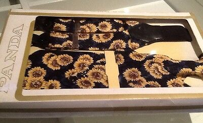 Vintage Braces And Matching Tie Set!! Sunflower Design!!!! New In Box!!!