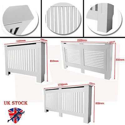 Painted Radiator Cover Slatted Cabinet Vertical Modern Style White MDF 3 Sizes