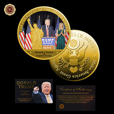 WR President Of US Donald Trump 24K Gold Coin Custom Challenge Coin certificate