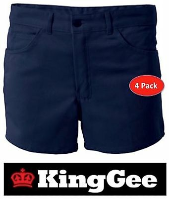 King Gee Workwear - Pack Of 4 - Mens Drill Jean Top  Short Leg Work  Shorts