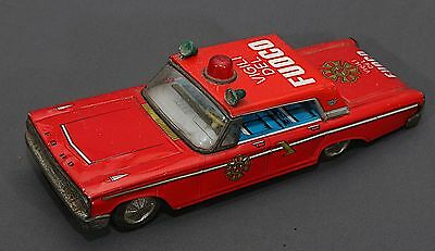 "RARE VTG Japan B/O 12.5"" FORD Galaxie VIGILI DEL FUOCO FIRE CHIEF Tin Car WORKS"