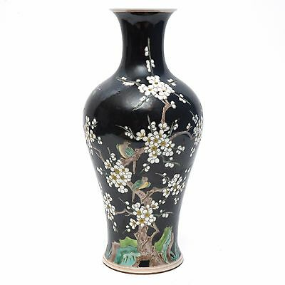 SUPERB Chinese Porcelain Famille Noire Vase with Flowers and Birds