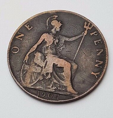 1904 - Copper - One Penny - Great Britain - King Edward VII - English UK Coin