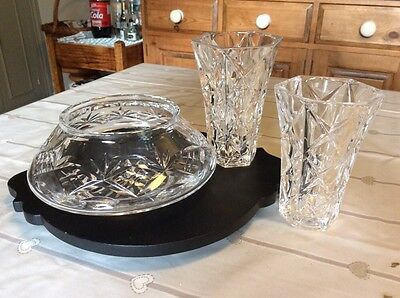 cut glass bowl and two matching rose vavses