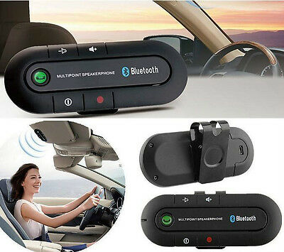 Wireless Multipoint Bluetooth Hands Free Car Speakerphone Speaker Visor Clip HS