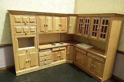 dolls house pine fitted corner kitchen/ hob/oven /sink  1.12th