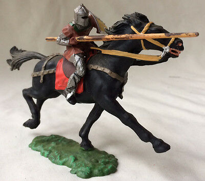 Elastolin knight in armour mounted - middle ages, medieval, chivalry