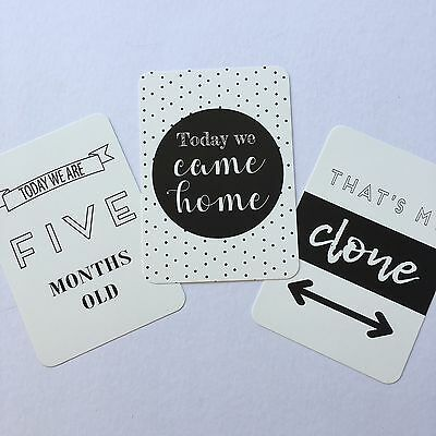 ON SALE - Monochrome Twin Baby Moments & Milestone Cards - 30 Pack