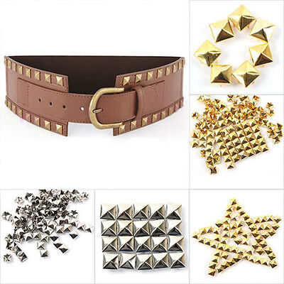 100pcs 3D Metal Rivet Square Pyramid Studs Spots Spikes Bags Leathercraft Craft