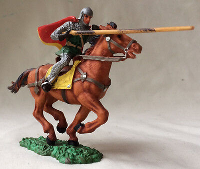 Elastolin Norman knight mounted - medieval, saxon, armour toy soldier