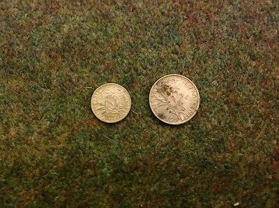 A 1916 Half Franc And One Franc Silver
