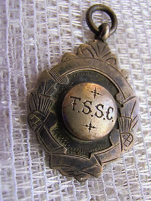 1936 Silver Hallmarked T.S.S.C Sports swimming Medal / fob M. Bates 1/4 mile
