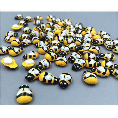 100xWood Wooden Bee Insect Sticker Wall Fridge Party Scrapbooking Decoration Set