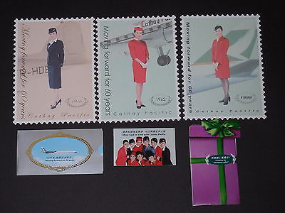 CATHAY PACIFIC AIRLINES 60th ANNIVERSARY POSTCARD & INFLIGHT CARDS +  OTHER