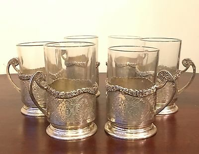 Antique Persian Silver Set Of6 Tea Cup Holders